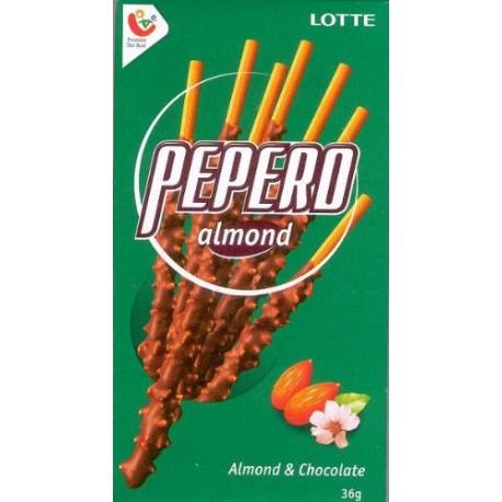 Pepero Almond - sladké tyčinky s čokoládou a mandlemi, Lotte, 36g